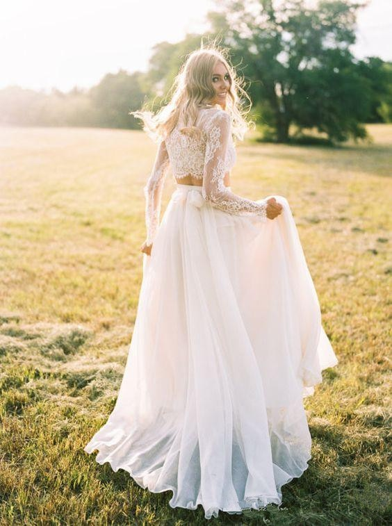 2017-new-romantic-two-pieces-bohemian-wedding-dresses-long-sleeves-lace-crop-top-chiffon-beach-country-wedding-gowns (2)_