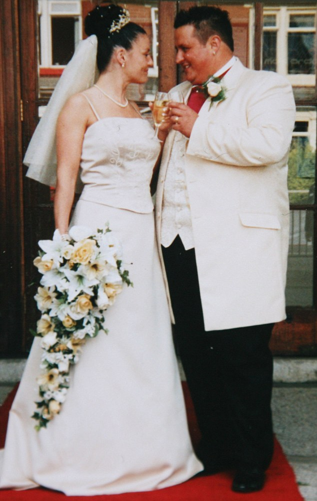 Adele Barkley and her ex-husband Paul, pictured at their blessing in 2004. Adele found out Paul was cheating when their son was just six-weeks-old
