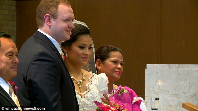 Gurung, pictured with her groom on her wedding day in Saint Paul, said she couldn
