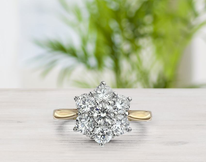 Daisy 7 stone diamond cluster engagement ring